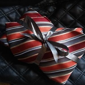 Arrow Men's Formal Tie Orange Silver Gray Gift